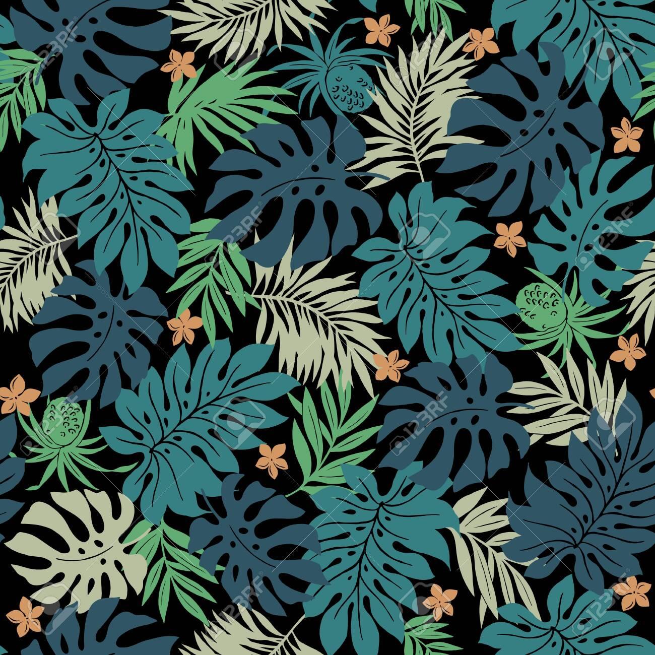 Beautiful Tropical Plant Seamless Pattern Illustration, - 142262457