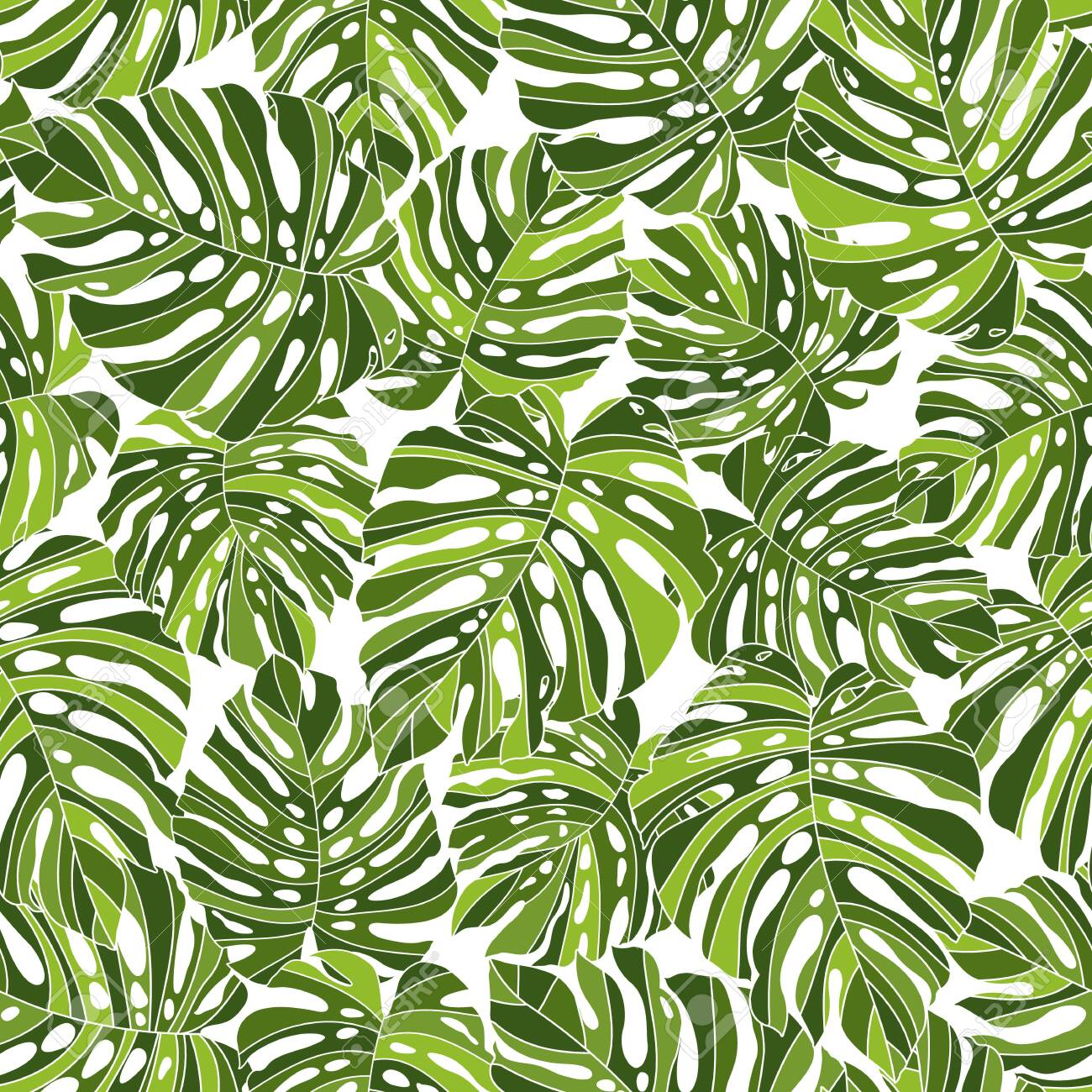 Tropical Plant Seams Pattern Illustration I Designed a Dramatic Plant, This Picture Is Seamless, It Is a Vector Work - 149252655