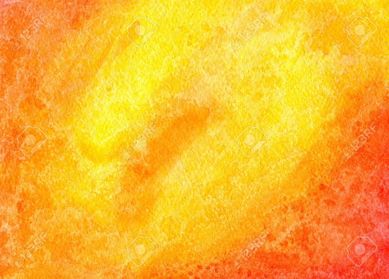 Abstract Watercolor Red Orange And Yellow Background Hand Drawn