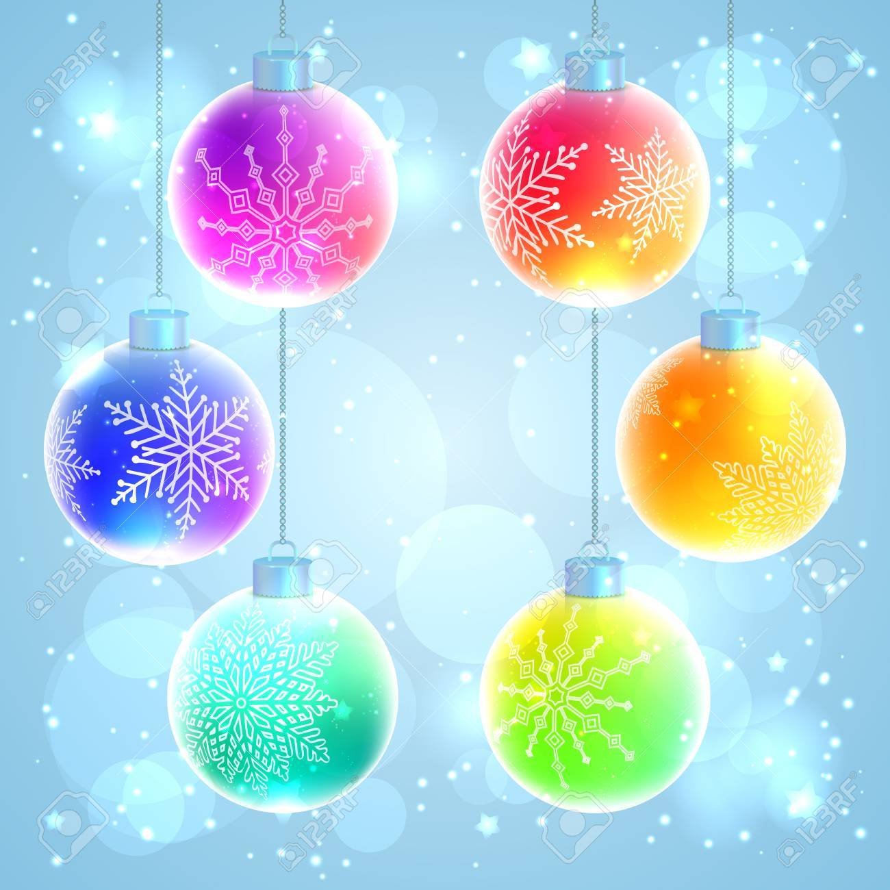 Set Of Six Colorful Rainbow Christmas Balls With Snowflake Decorations