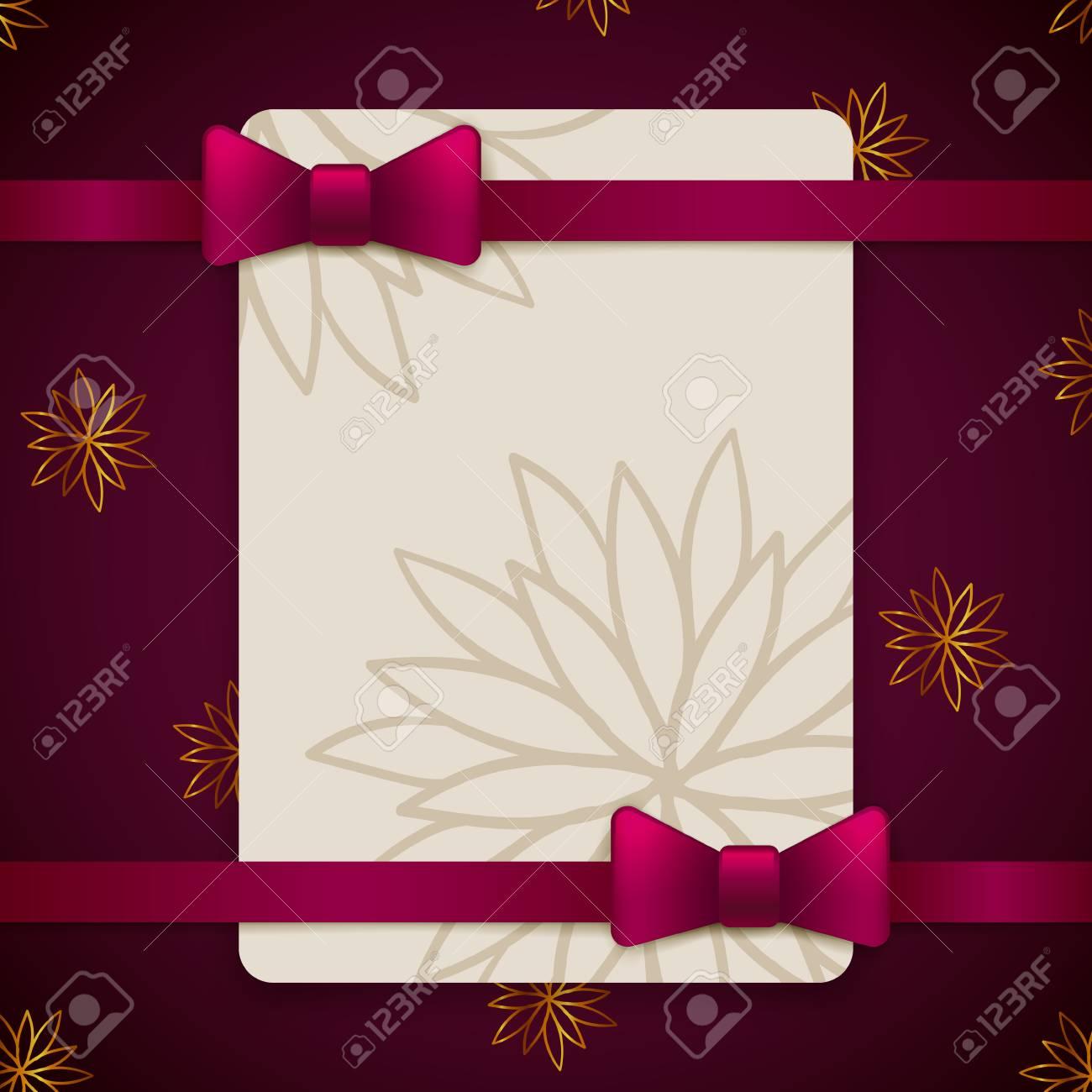 Plantilla De Tarjeta De Felicitación Vintage Violeta Y Oro Con Arco Y Cinta Diseño De Invitación De Boda De Vector Diseño De Plantilla De