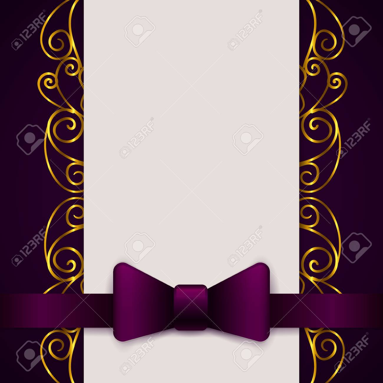 Dark Violet Vintage Greeting Card Template With Bow And Ribbon