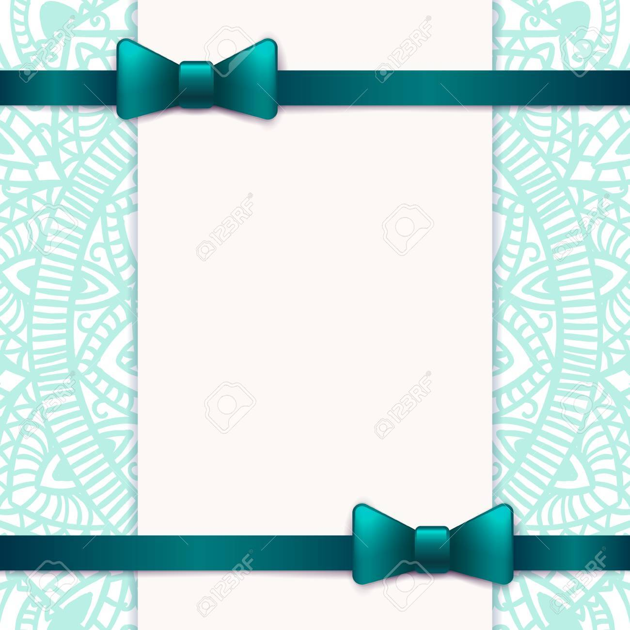 Blue Vintage Greeting Card Template With Bow And Ribbon. Vector ...