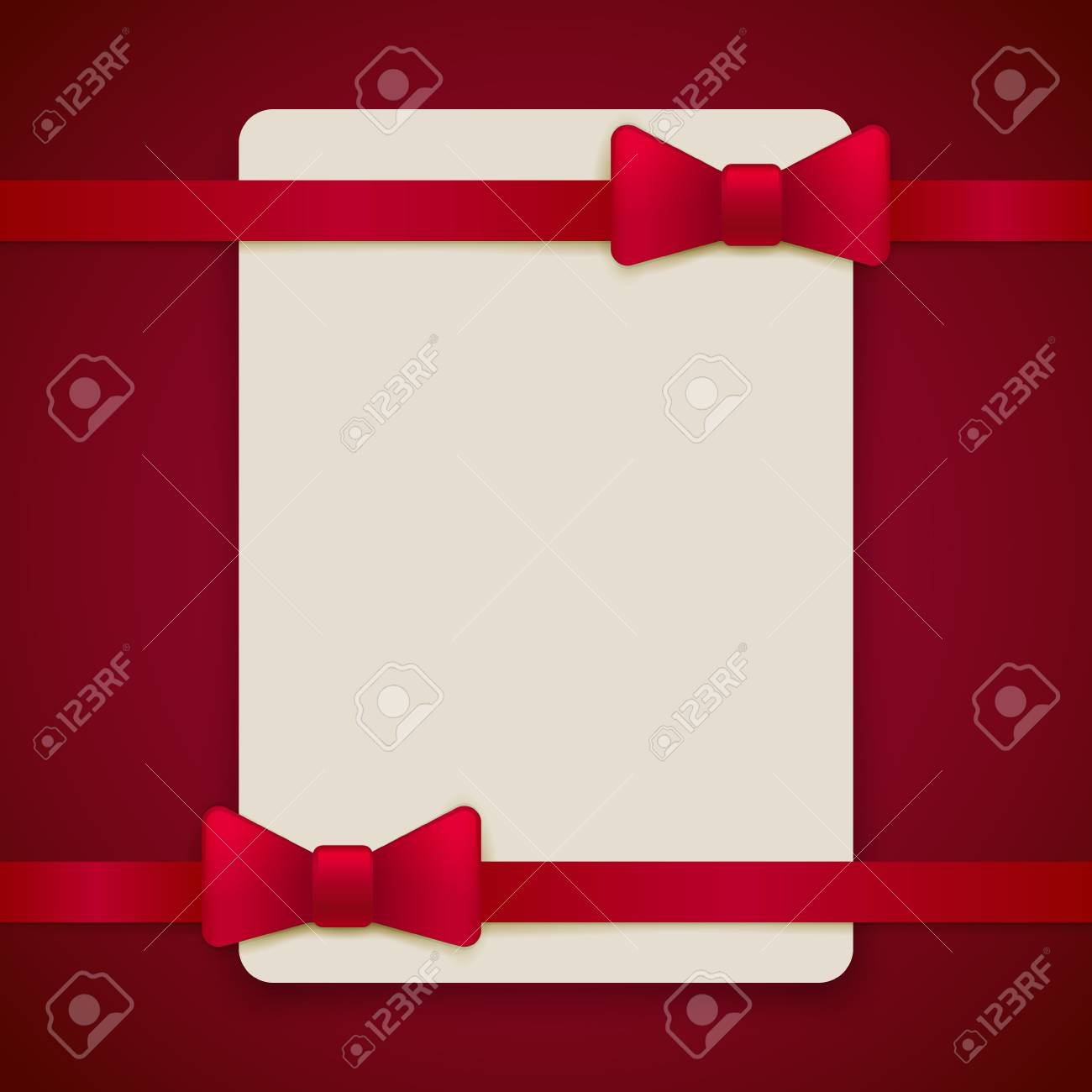 Red Vintage Greeting Card Template With Bow And Ribbon. Vector ...