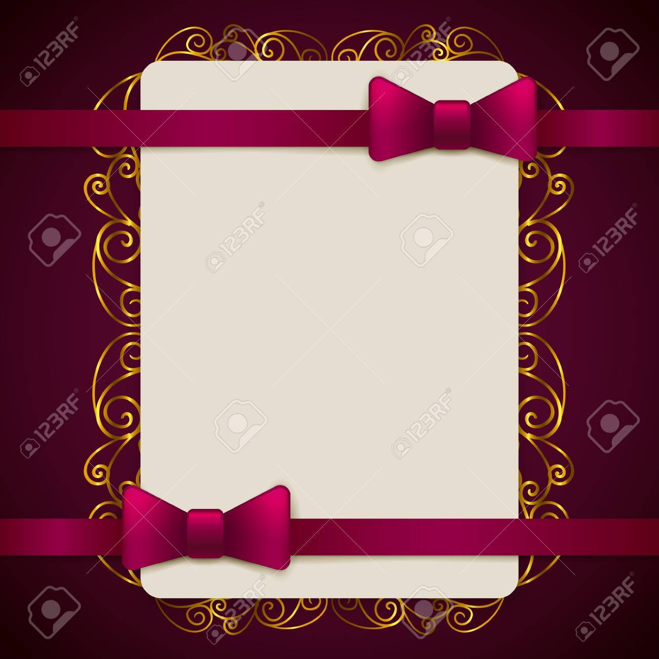 Gold And Violet Vintage Greeting Card Template With Bow And Ribbon