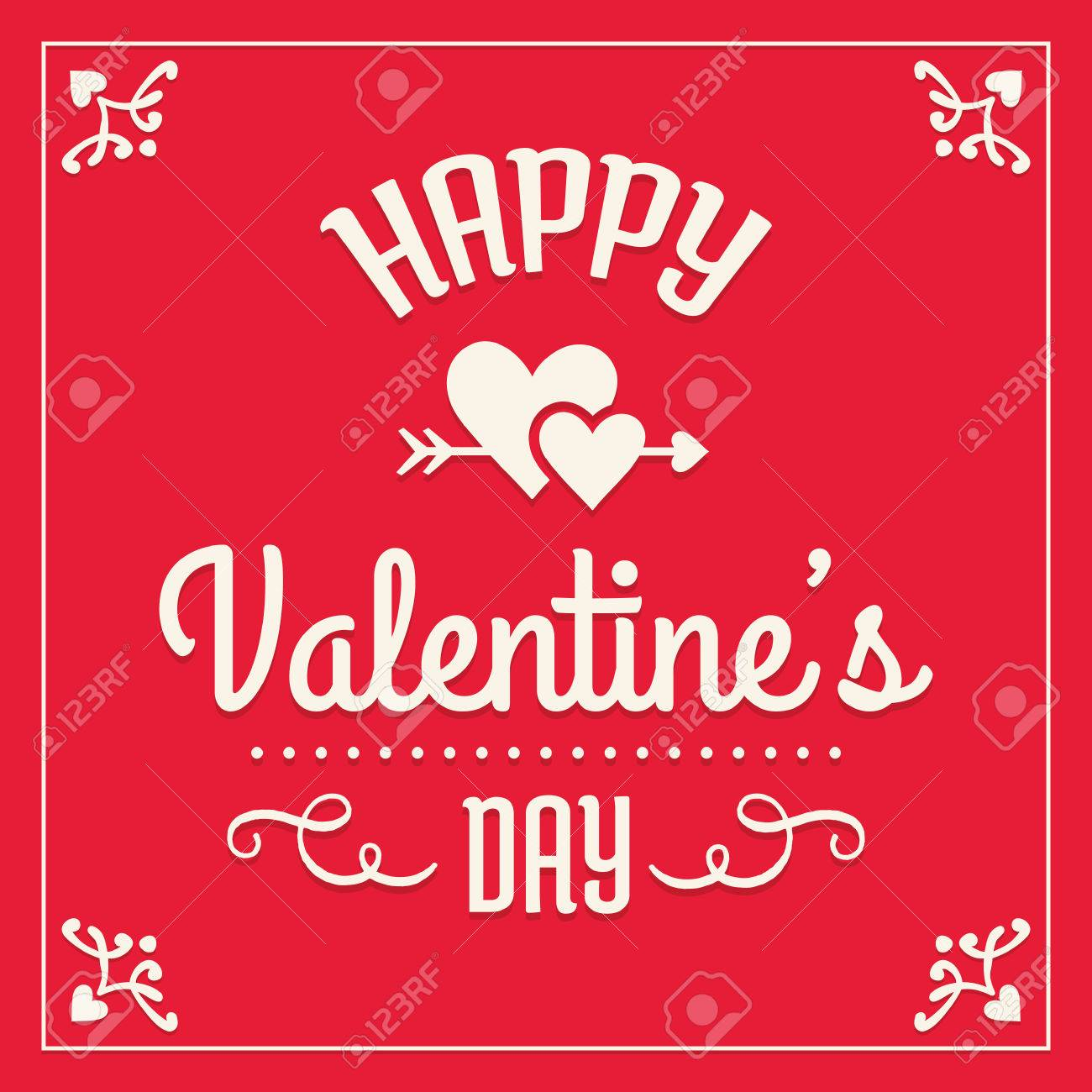 Romantic Happy Valentines Day Card Template Typographic Design – Valentines Day Cards Template
