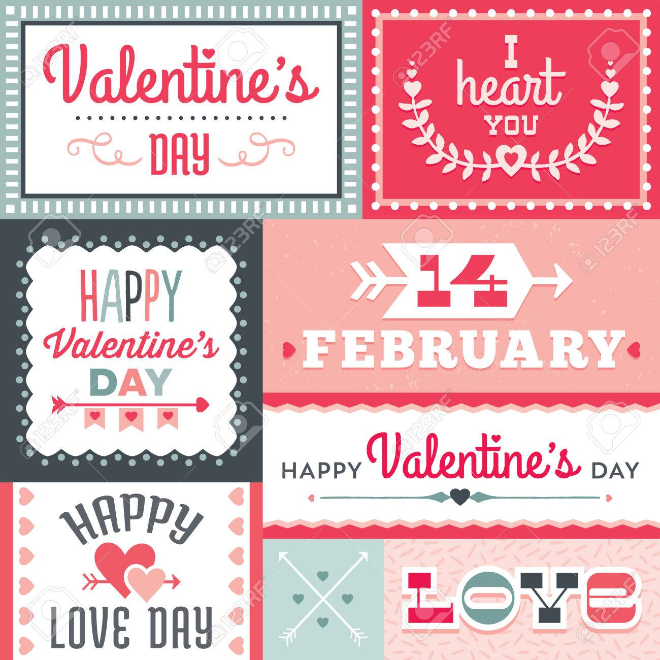 Set Of Hipster Valentines Day Typographic Labels And Cards In – Valentine Day Label