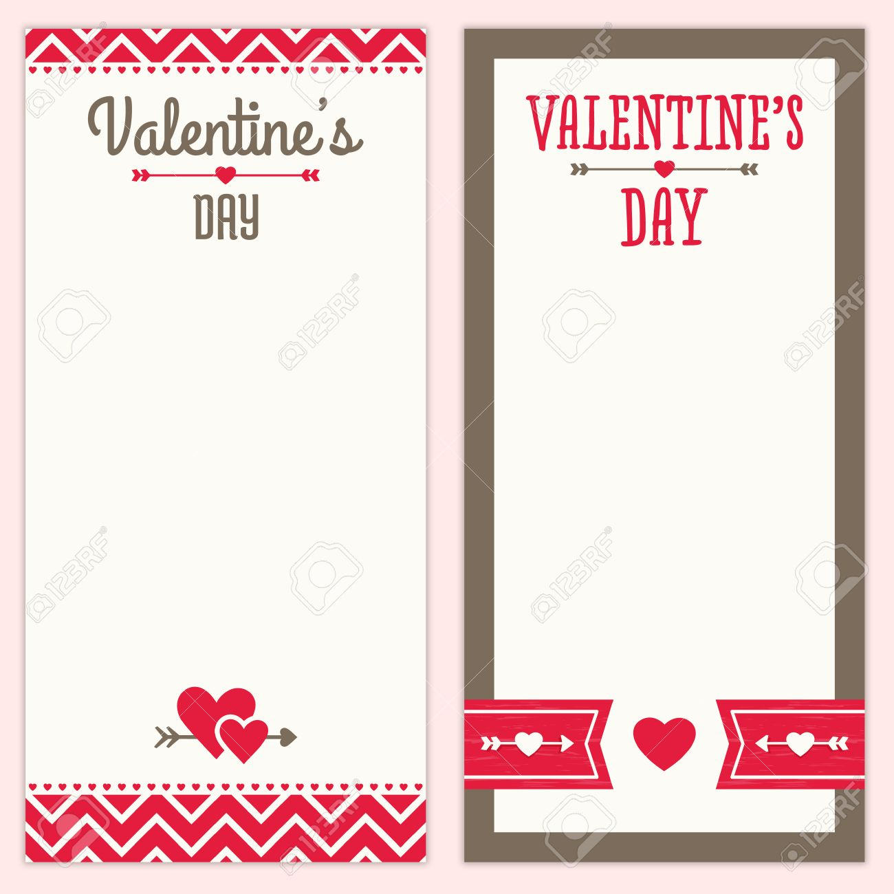 Set Of Hipster Background Designs For Valentines Day Menu