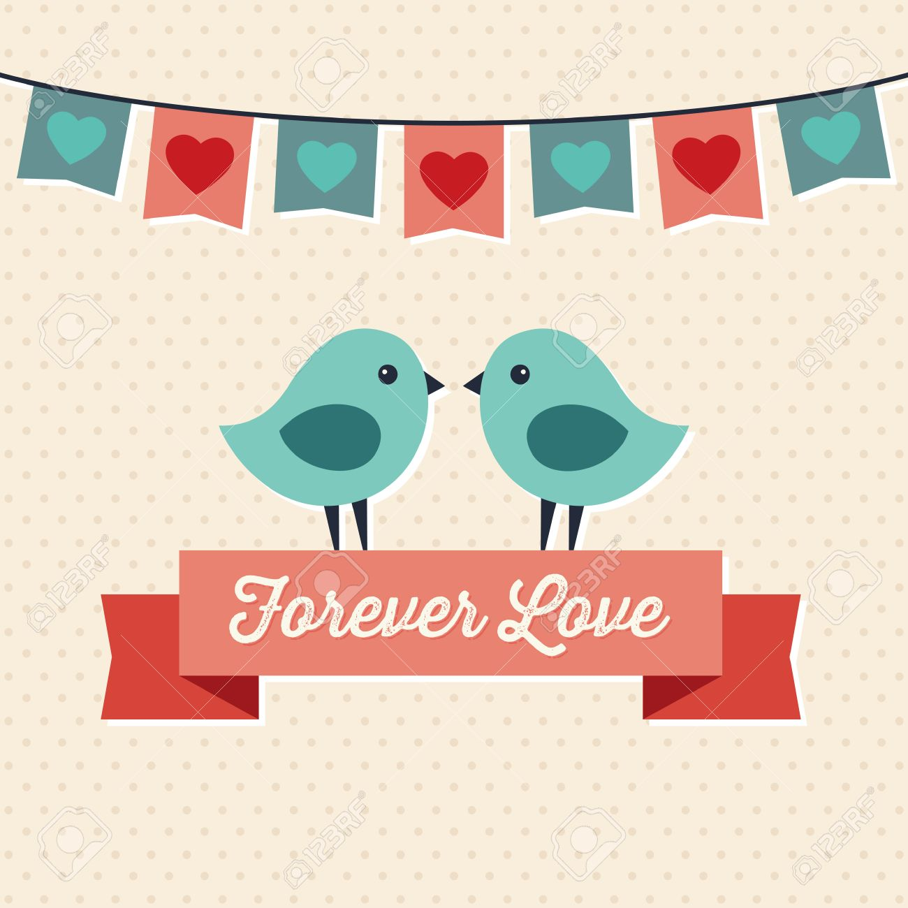 Vector bunting flags lovely celebration card with colorful paper - Sweet Flag Sweet Hipster Greeting Card For Valentines Day With Two Cute Love Birds And
