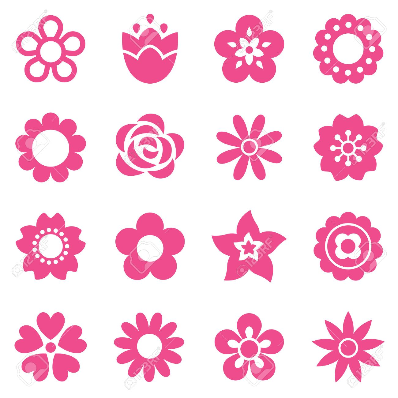 Set Of Flat Flower Icons In Silhouette Isolated On White Simple
