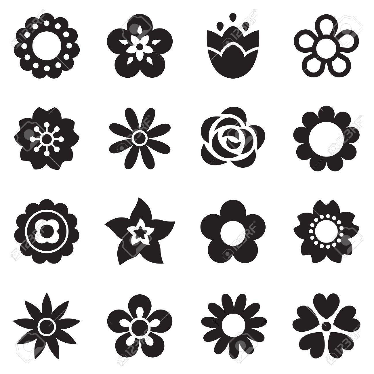 Preferenza Set Di Icone Di Fiori Piane In Silhouette Isolato Su Bianco  LC49