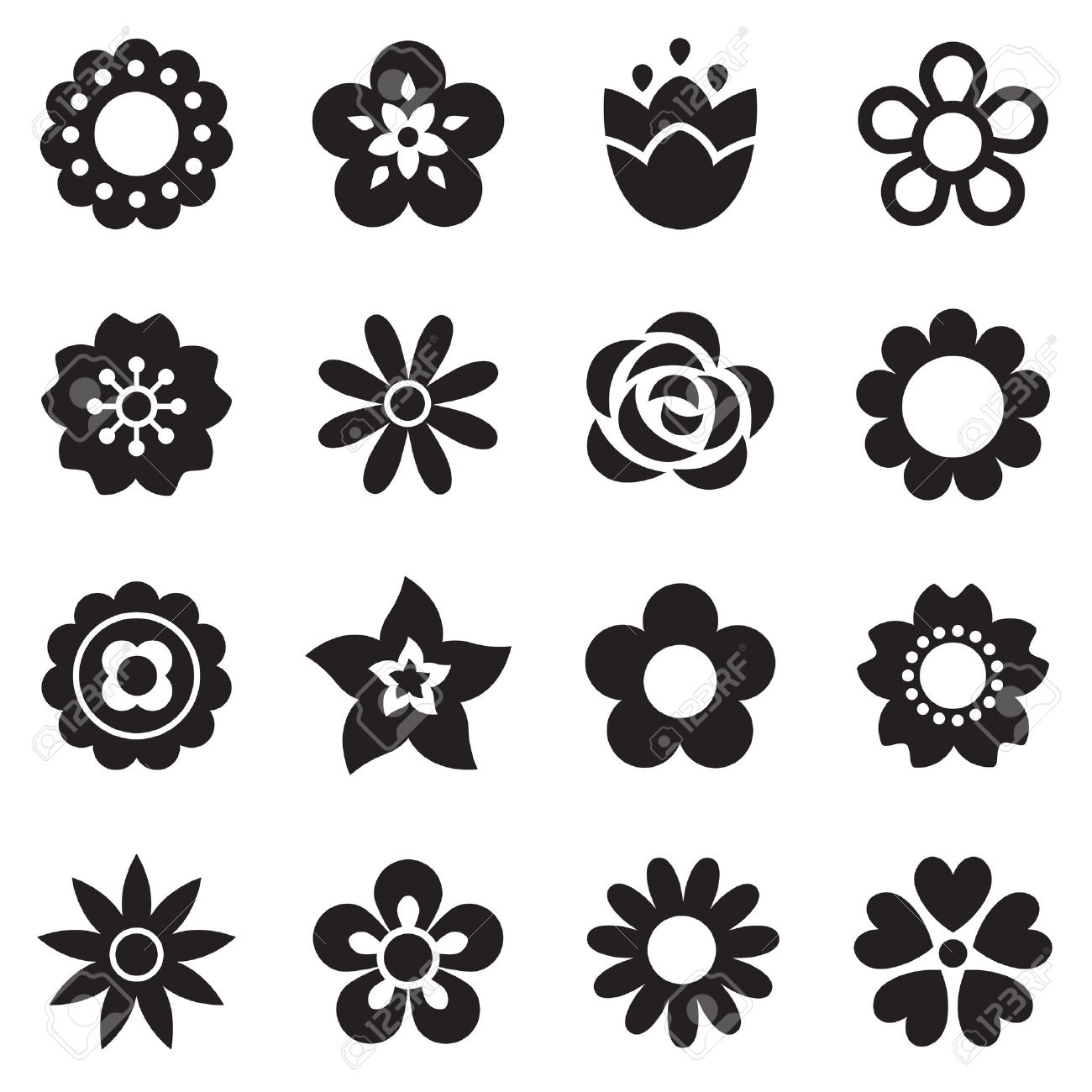 Set Of Flat Flower Icons In Silhouette Isolated On White Simple Royalty Free Cliparts Vectors And Stock Illustration Image 31359794