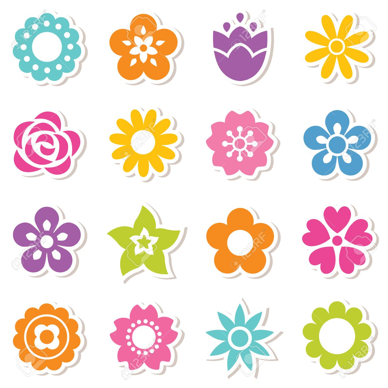 Flower cartoon stock photos royalty free flower cartoon images set of flat icon flower stickers in bright colors simple retro designs seamless background izmirmasajfo Images
