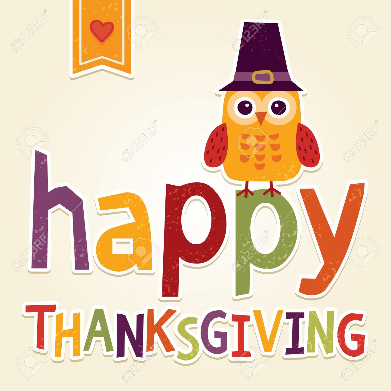 Happy Thanksgiving Day Card Poster Or Menu Design With Cute Owl In Pilgrim Hat