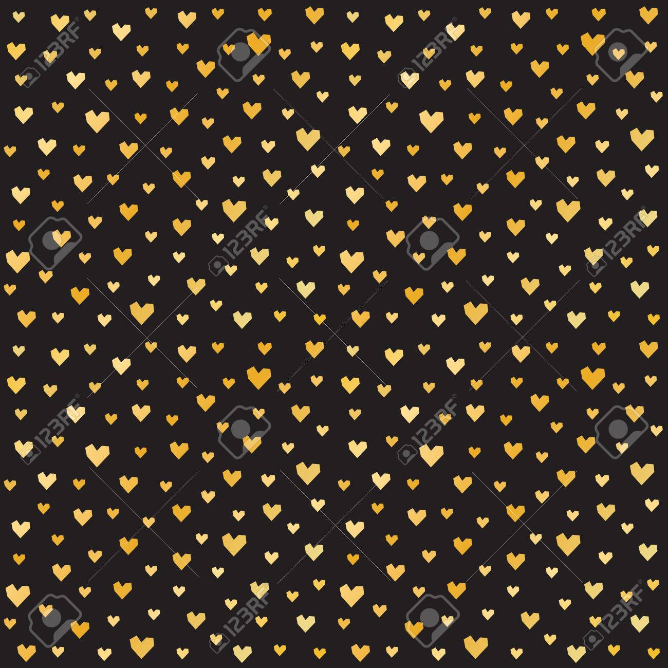 Romantic vector seamless background greeting card wallpaper vector art -  Greeting Cards Wallpaper Textiles Seamless Romantic Pattern For Valentines Day With Gold Hearts On Black Background Minimal Repeat Background