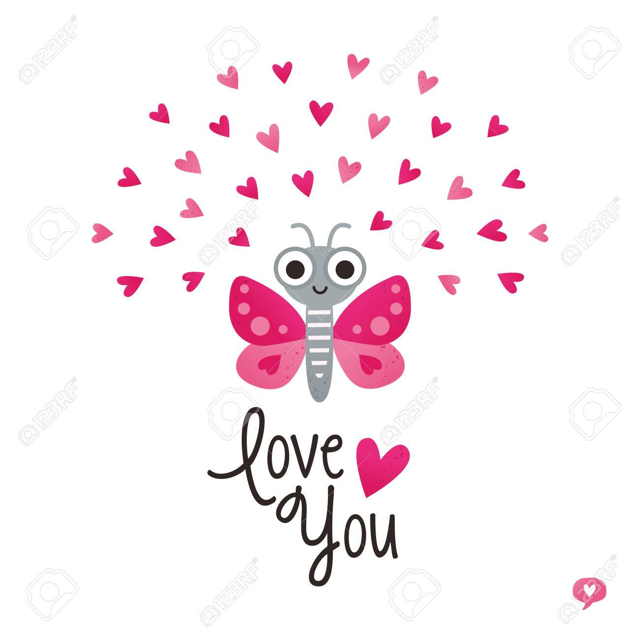 Cute Love Card In Red And Pink With Butterfly And Hearts Text