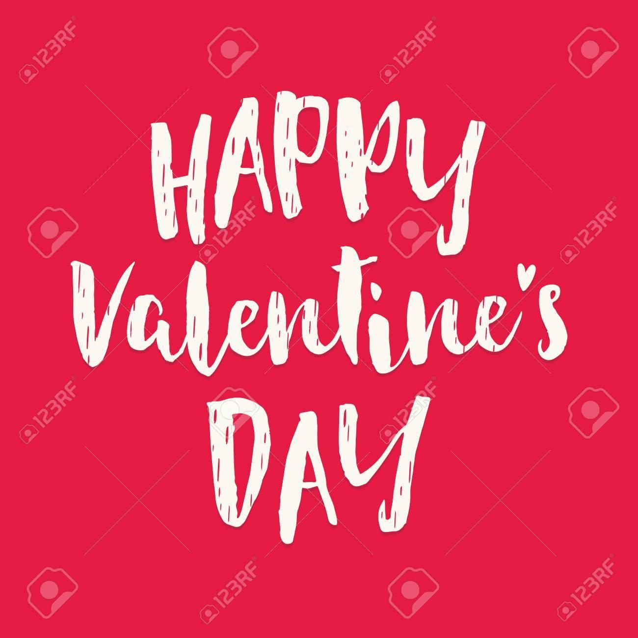 Carte Damour Typique Vecteur Mignon Avec Un Texte Crème Sur Fond Rouge Le Message Se Lit Bonne Saint Valentin Pour Les Cartes De Voeux Les