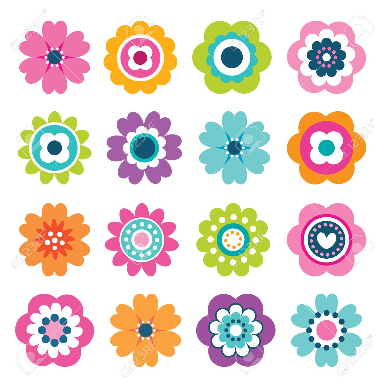 Flower cartoon stock photos royalty free flower cartoon images set of flat flower icons in silhouette isolated on white cute retro illustrations in bright izmirmasajfo Gallery