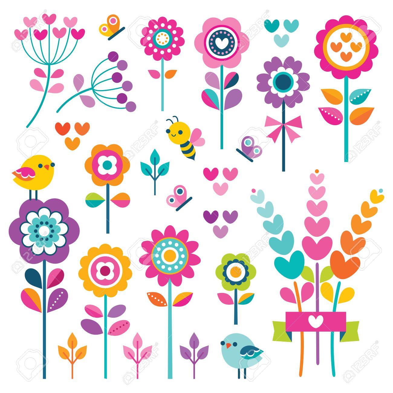 Vector Conjunto De Flores De Estilo Retro Mariposas Pajaros Y