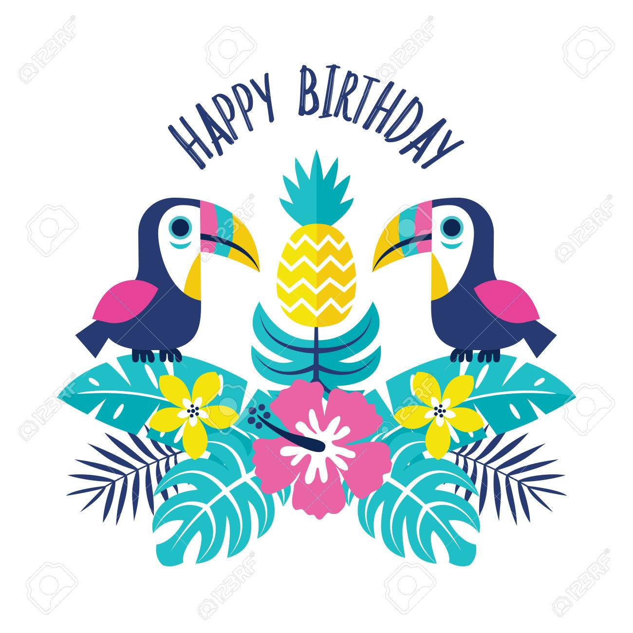Completely New Happy Birthday Tropical Flowers Ad67