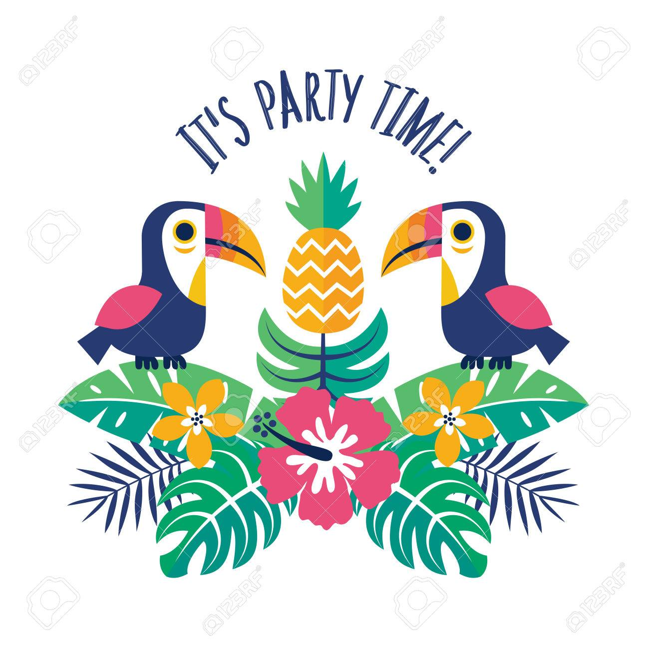 Colorful Party Invitation Template Or Greeting Card With Toucans ...