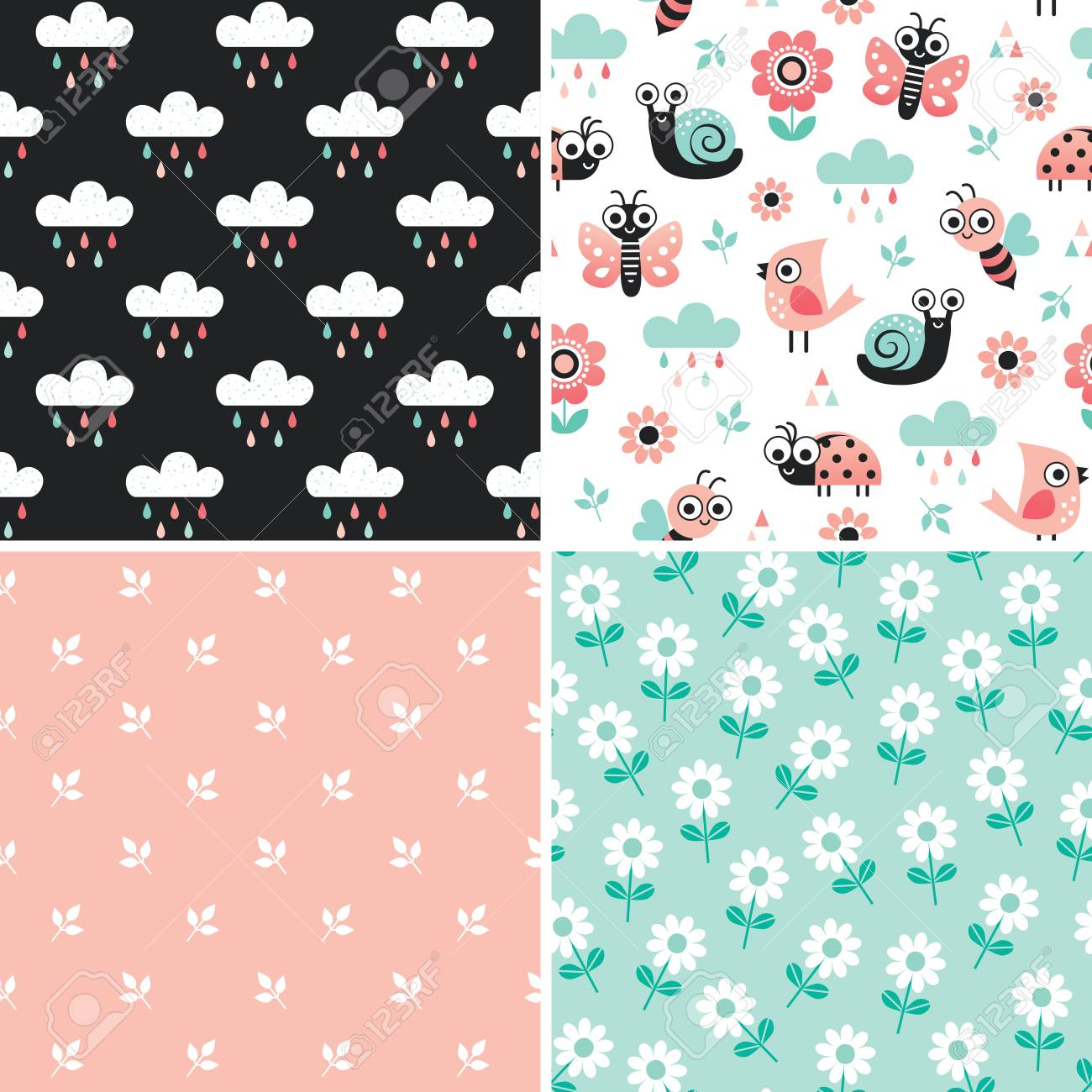Vector Collection Of Cute Seamless Patterns With Cartoon Bugs Royalty Free Cliparts Vectors And Stock Illustration Image 109517824