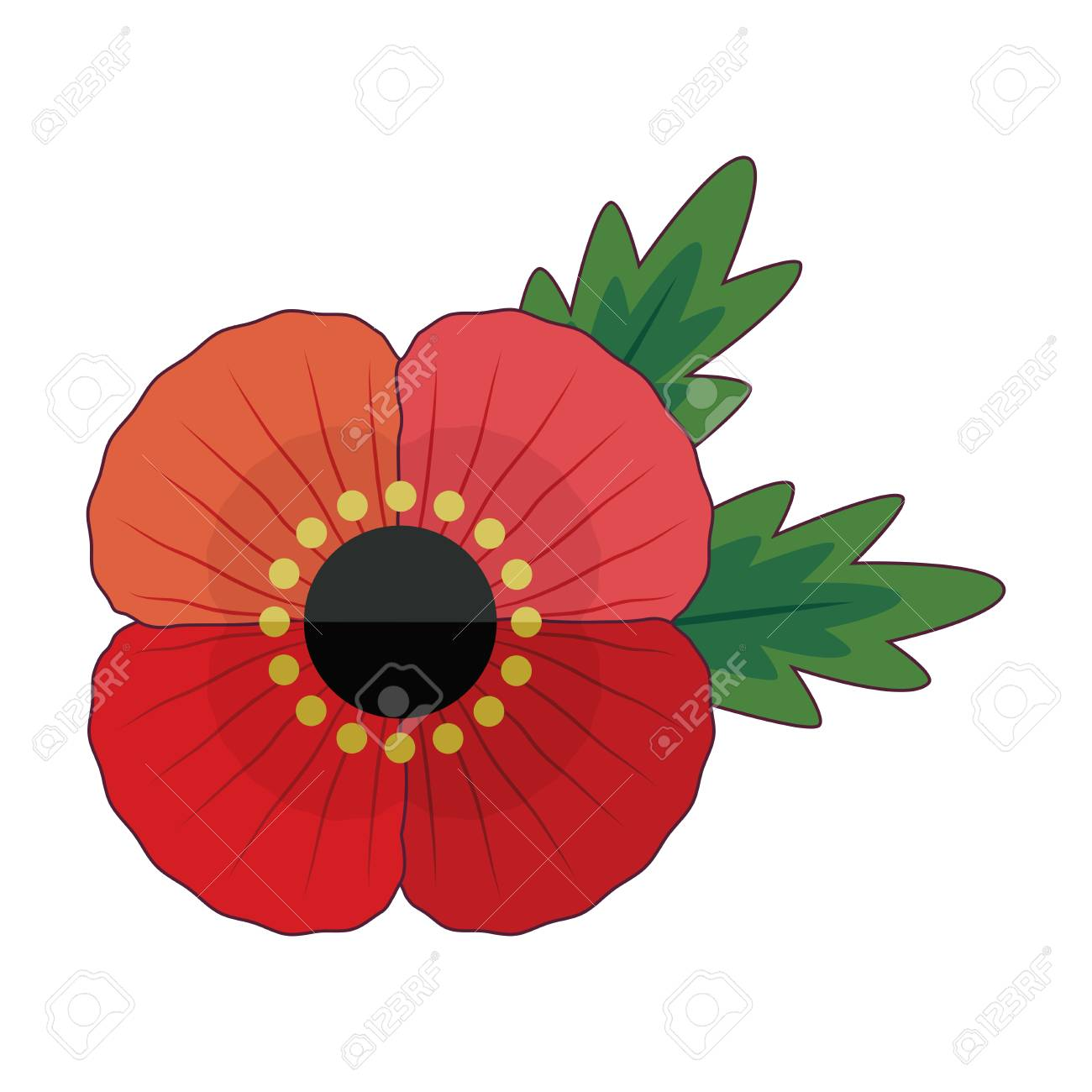 Fun Retro Style Red Poppy Flower With Leaves For Anzac And