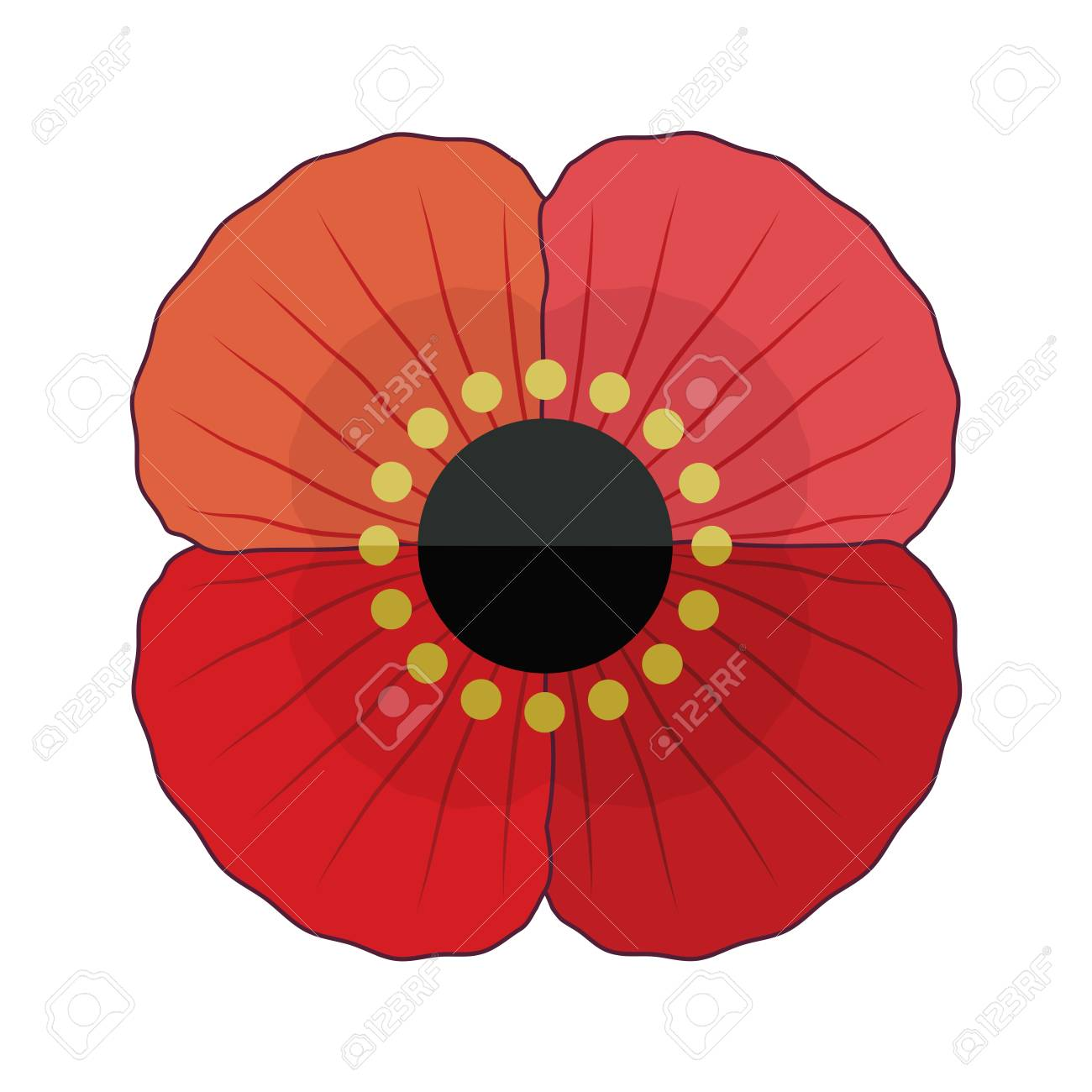 Fun Retro Style Red Poppy Flower For Anzac And Remembrance Day