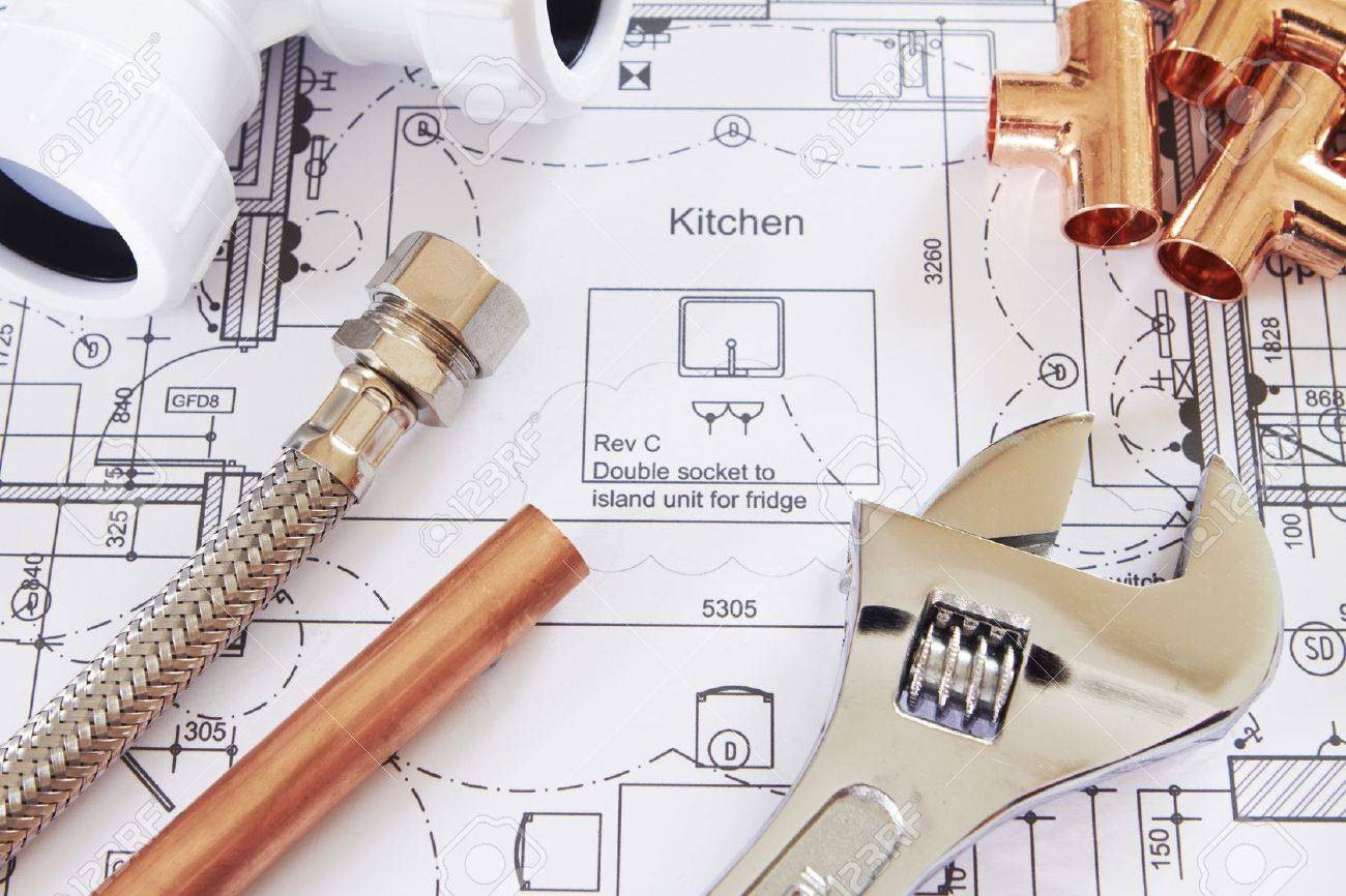 Plumbing Components On House Plans Stock Photo, Picture And ...