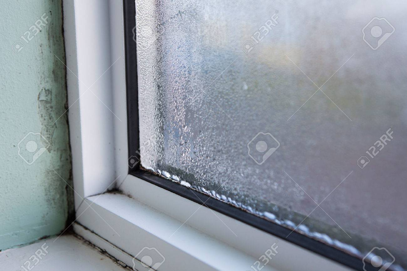 House Window With Damp And Condensation Stock Photo   73639294