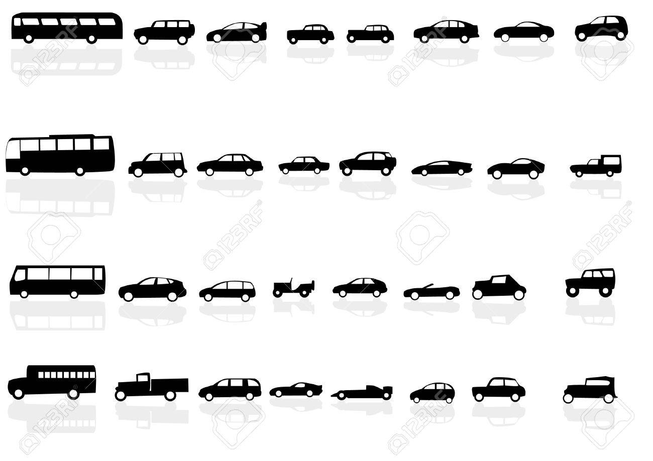 Vector set of silhouettes of cars with reflections Stock Vector - 12247920