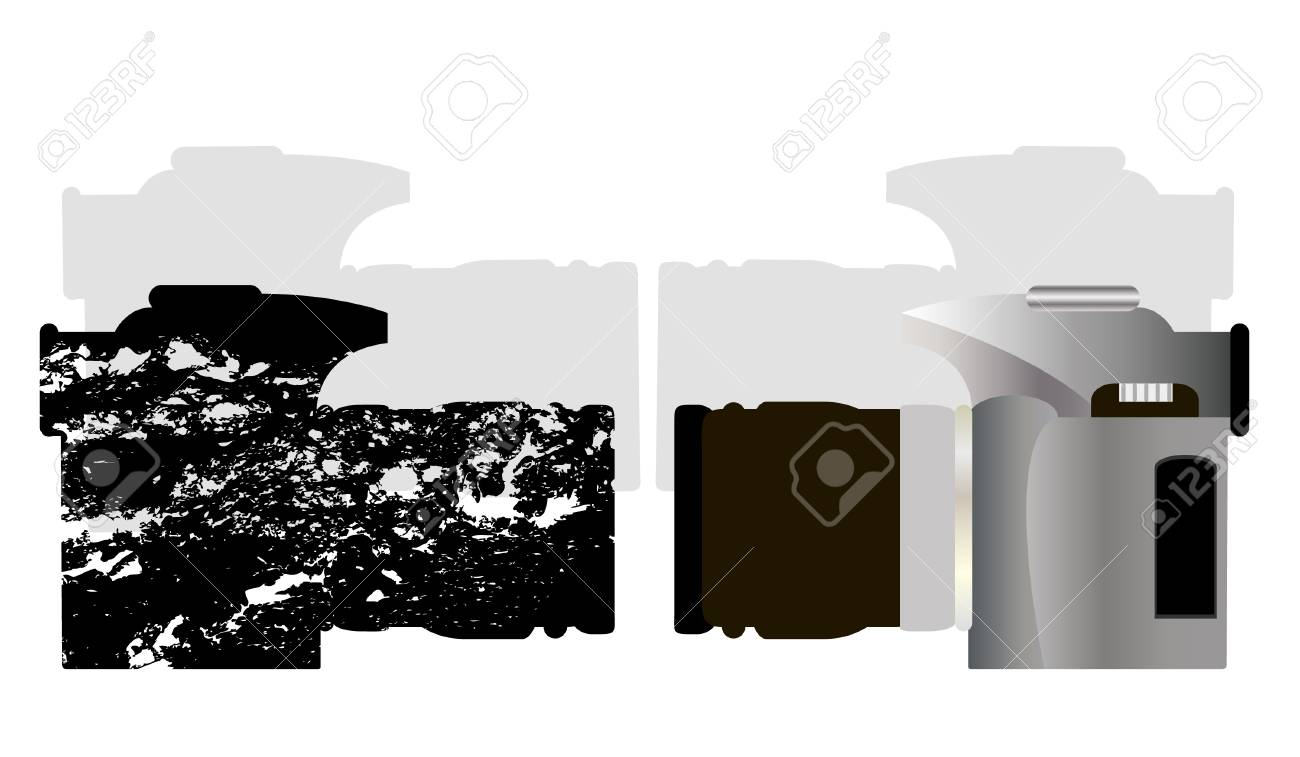 Grunge Camera Vector : Vector camera with the camera in grunge style royalty free cliparts