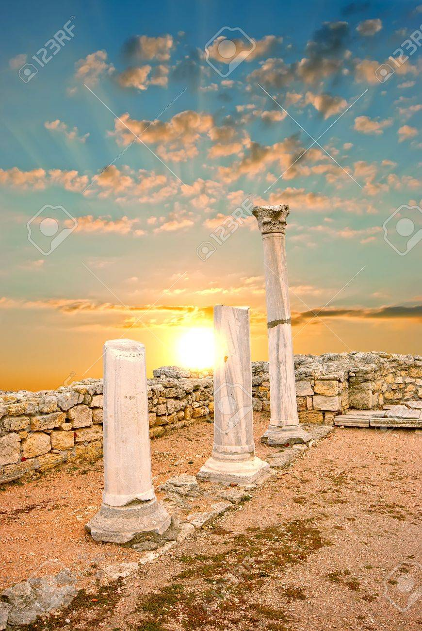 Ancient Greek columns at sunset. City of Sebastopol. Chersonesos Stock Photo - 12634595