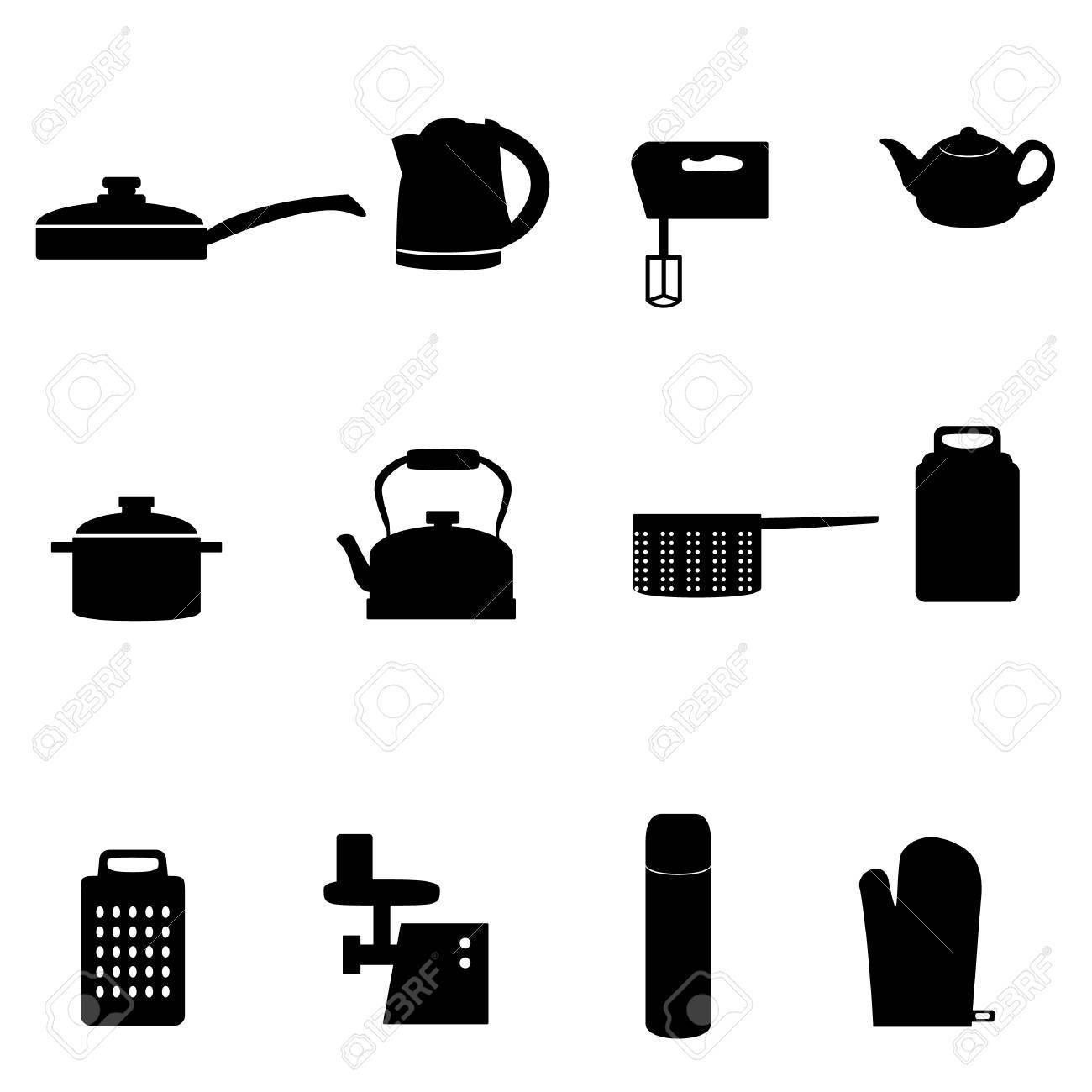 Set Of Icons Of Different Types Of Kitchen Appliances Royalty Free ...