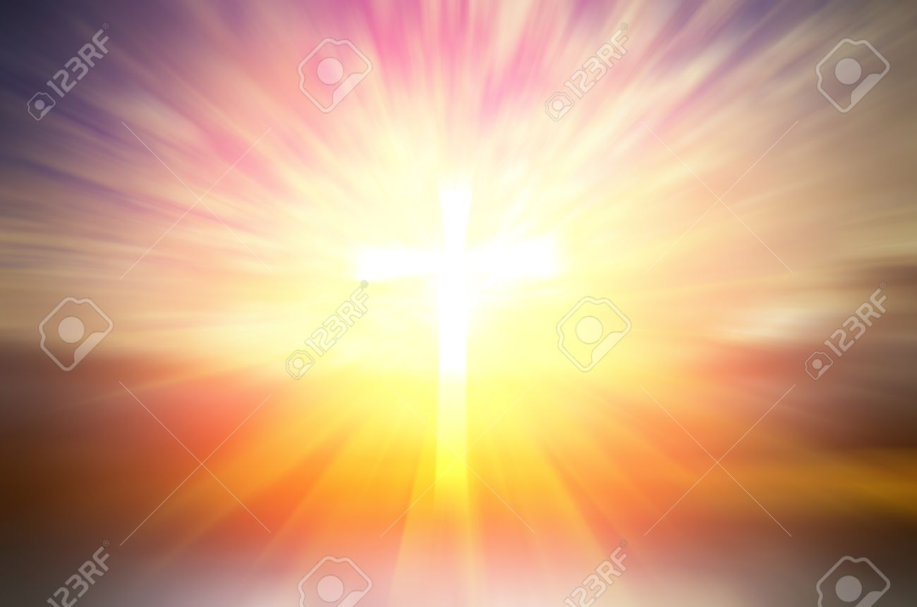 Cross of hope and faith in God and in the background rays of sunset. religious abstract composition - 38572597
