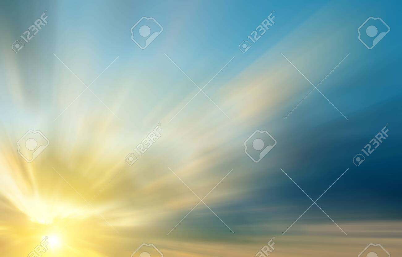 The bright rays of the sun in the dramatic clouds at dawn. Abstract sunset composition - 126216277
