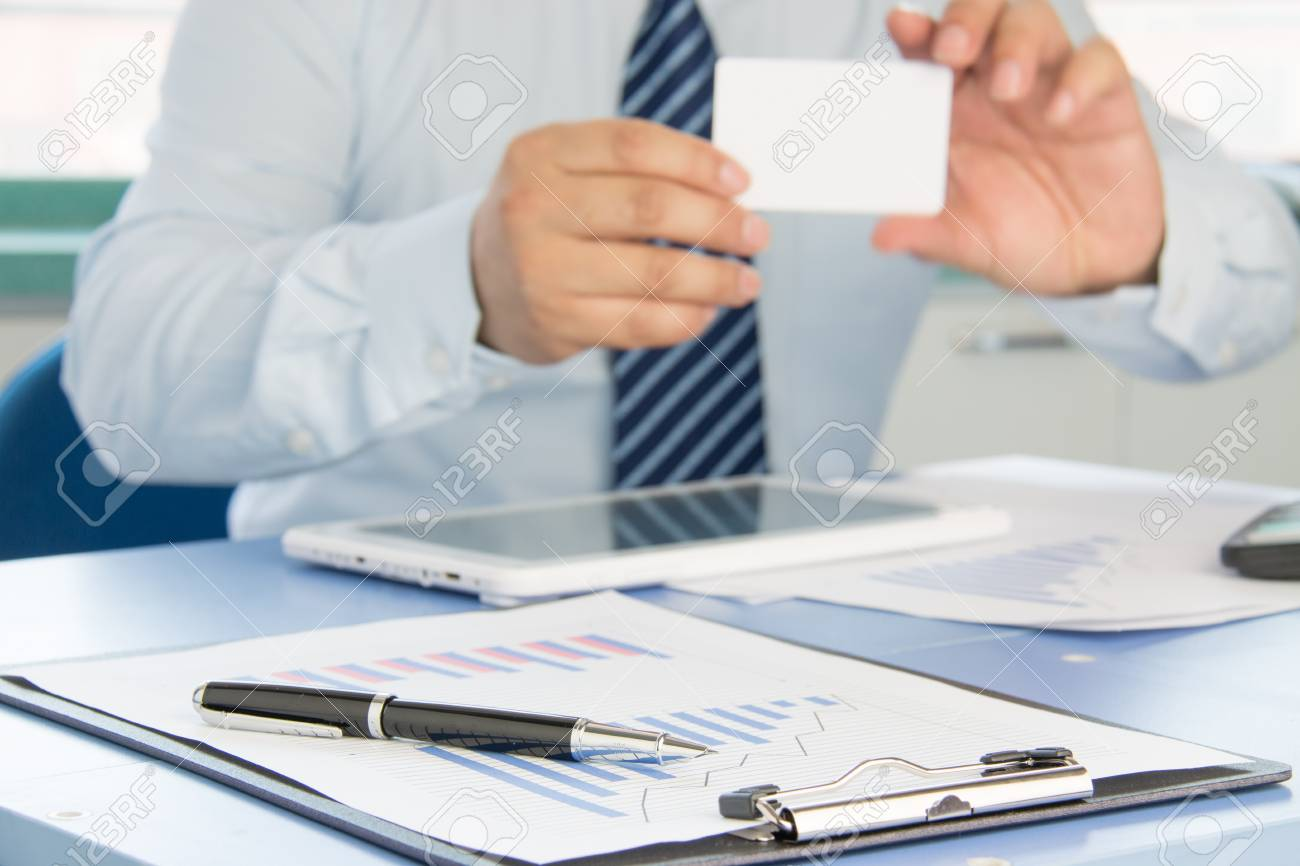 Businessman Ready To Exchange Business Cards Stock Photo, Picture ...