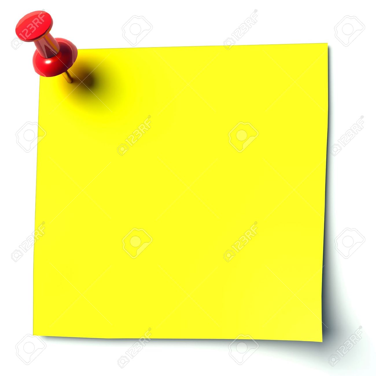 yellow sticker attached drawing pin Stock Photo - 11137193