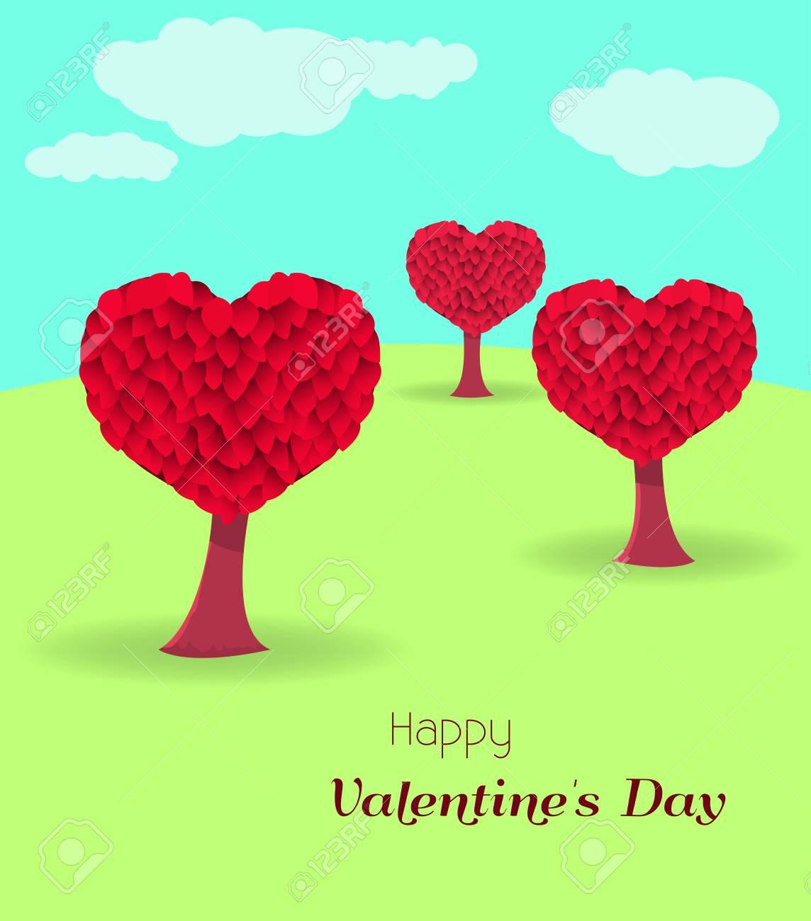 Tarjeta De San Valentín Con árboles En Forma De Corazón Ilustración