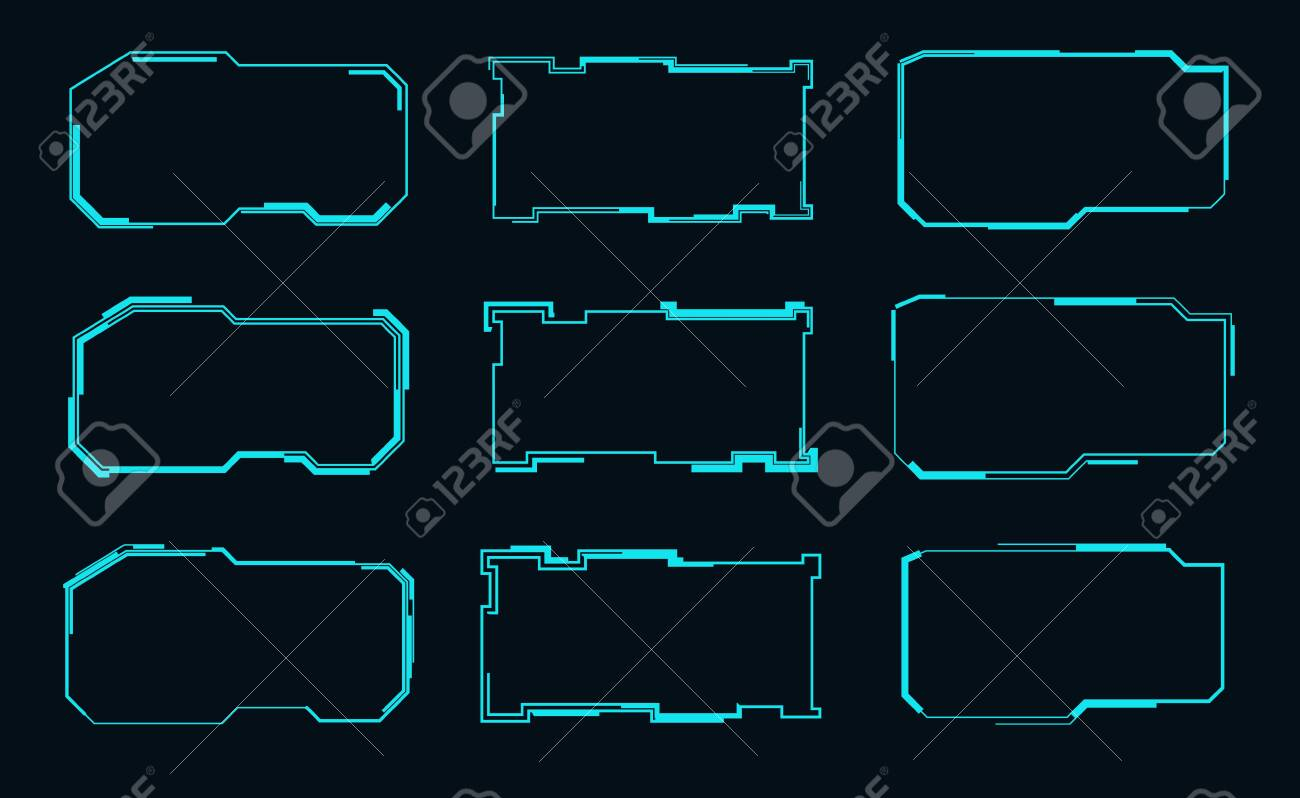 set of futuristic frames for the hud interface vector illustration royalty free cliparts vectors and stock illustration image 138201670 set of futuristic frames for the hud interface vector illustration