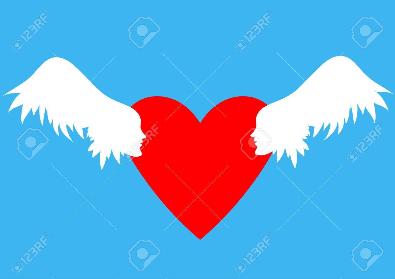 Ilustración Vectorial Día De San Valentín Alas Con Rostros Humanos
