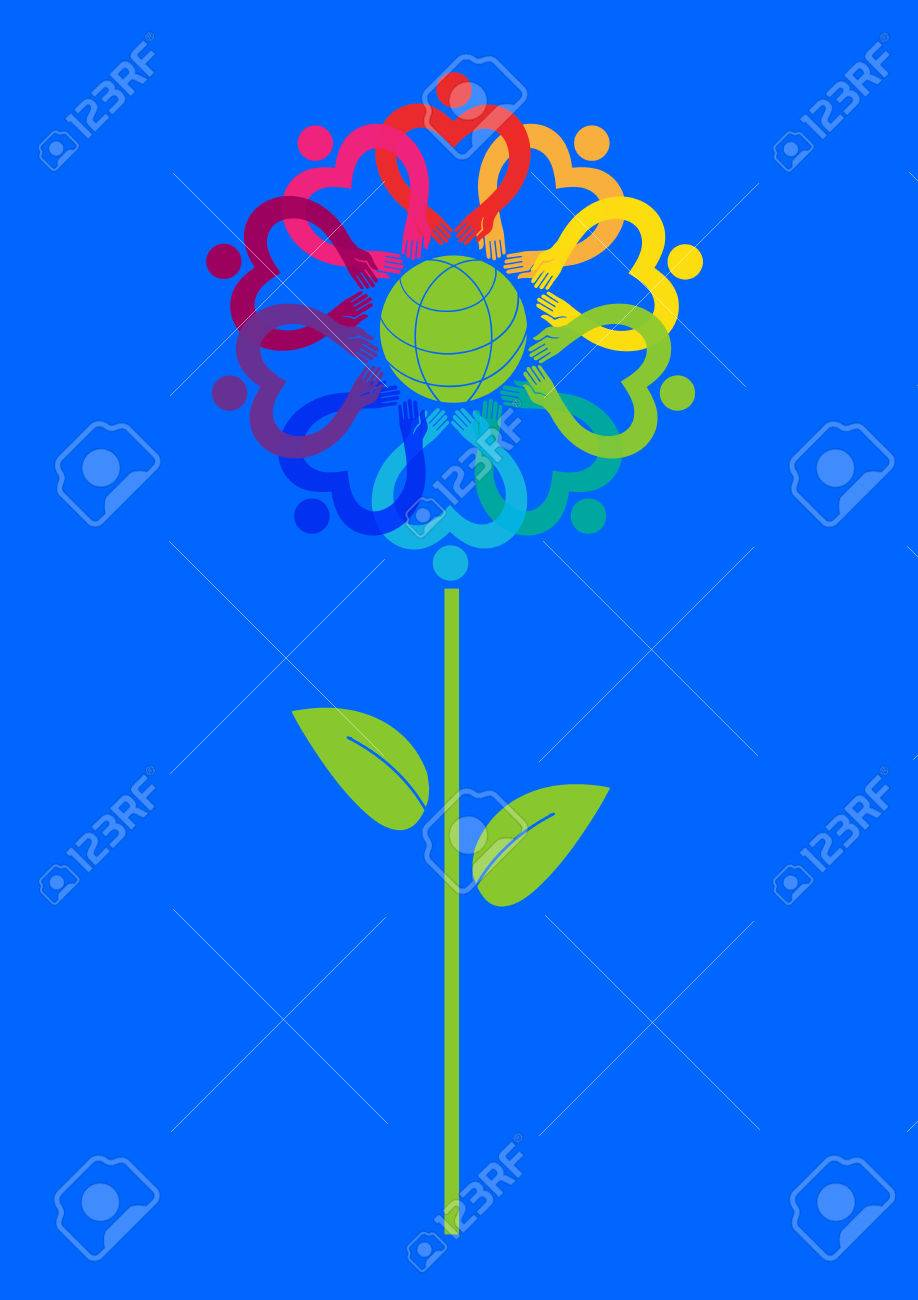 Symbolic flower of the earth symbol of tolerance immigration symbolic flower of the earth symbol of tolerance immigration icon vector ecology and biocorpaavc Image collections