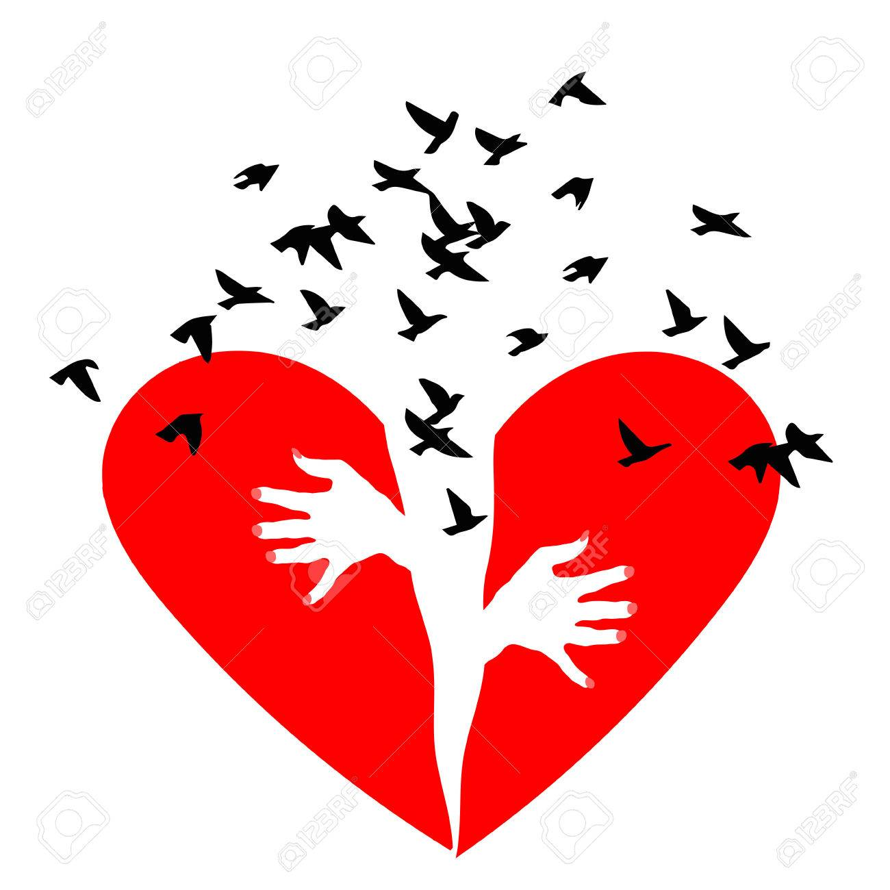 red heartbreak birds fly out of a broken heart broken heart rh 123rf com broken heart vector images broken heart vector png
