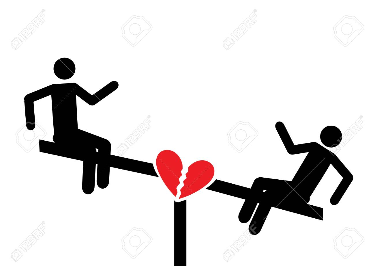 Love on a swing  Broken heart  Playground symbol for download