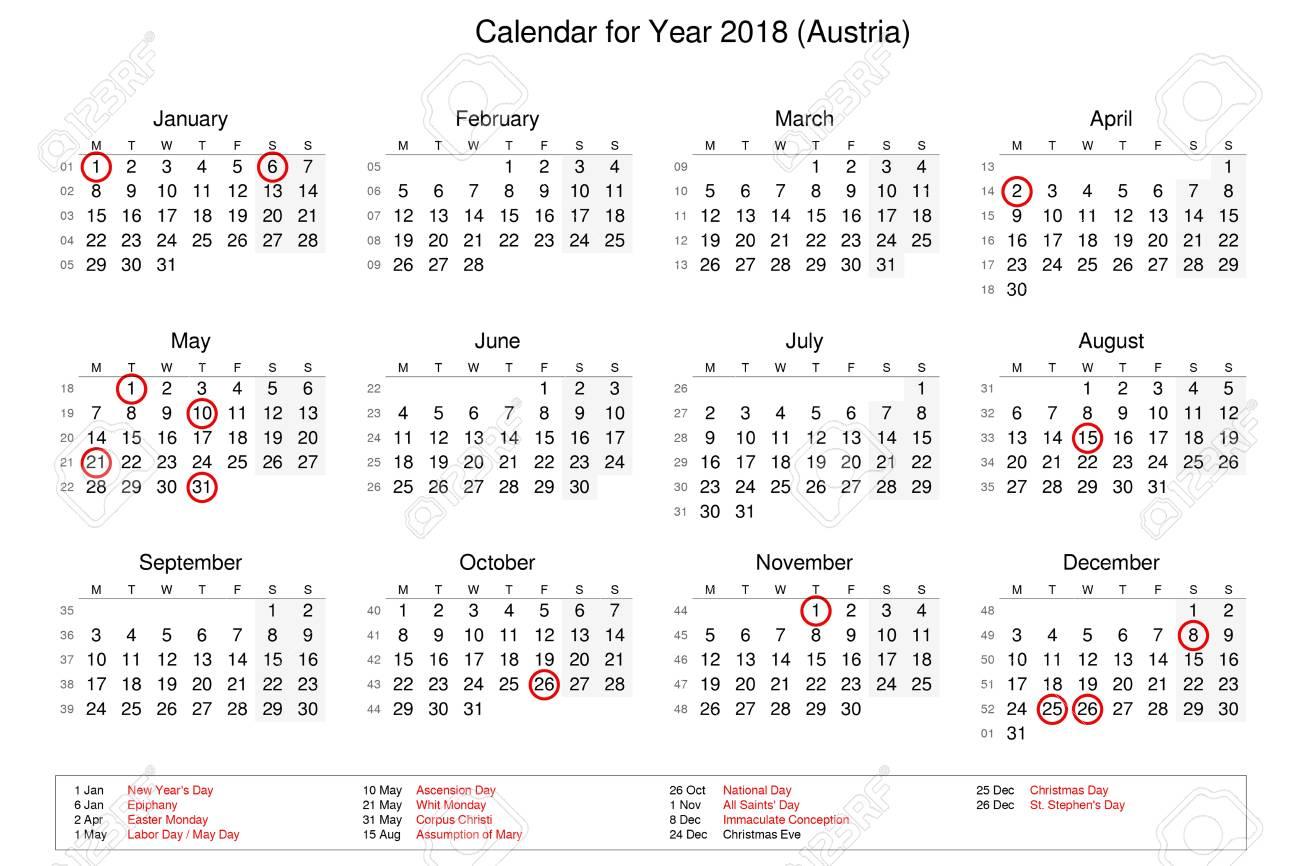 Kalender Für Das Jahr 2018 Mit Feiertagen Und Feiertagen Für