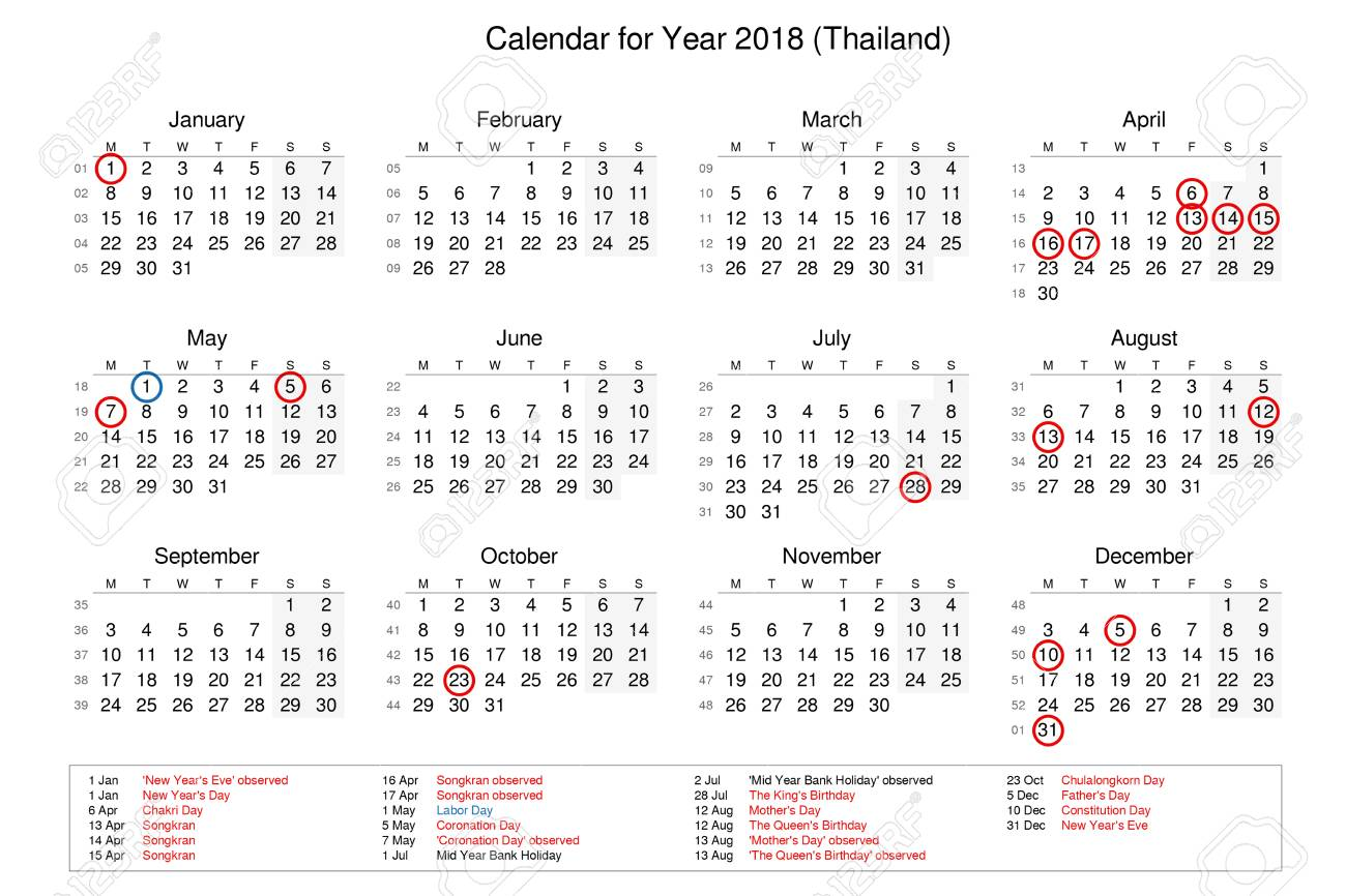 calendar of year 2018 with public holidays and bank holidays for thailand stock photo 91165767