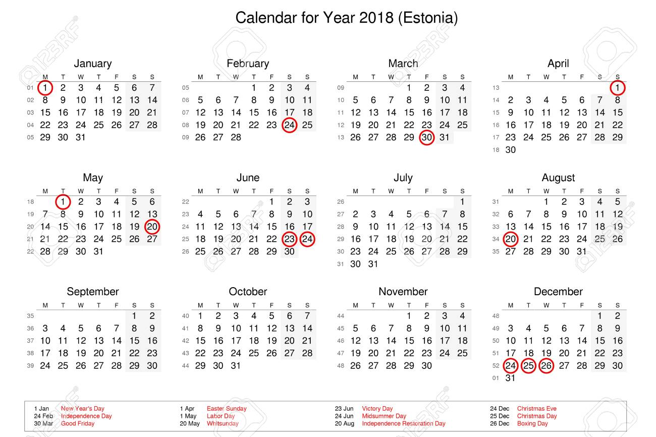 Calendar Of Year 2018 With Public Holidays And Bank Holidays.. Stock ...