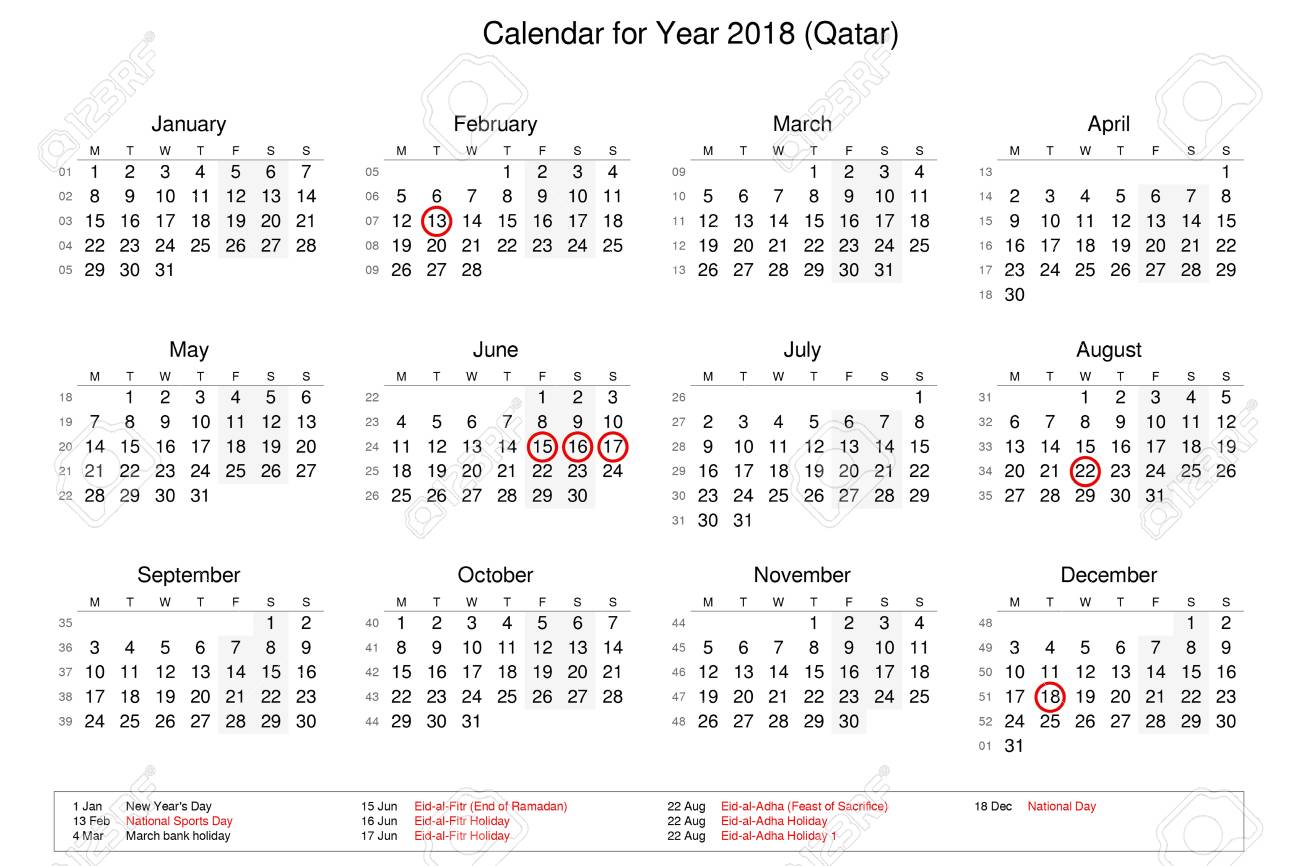 Calendar Qatar : Calendar for stock vector illustration of number