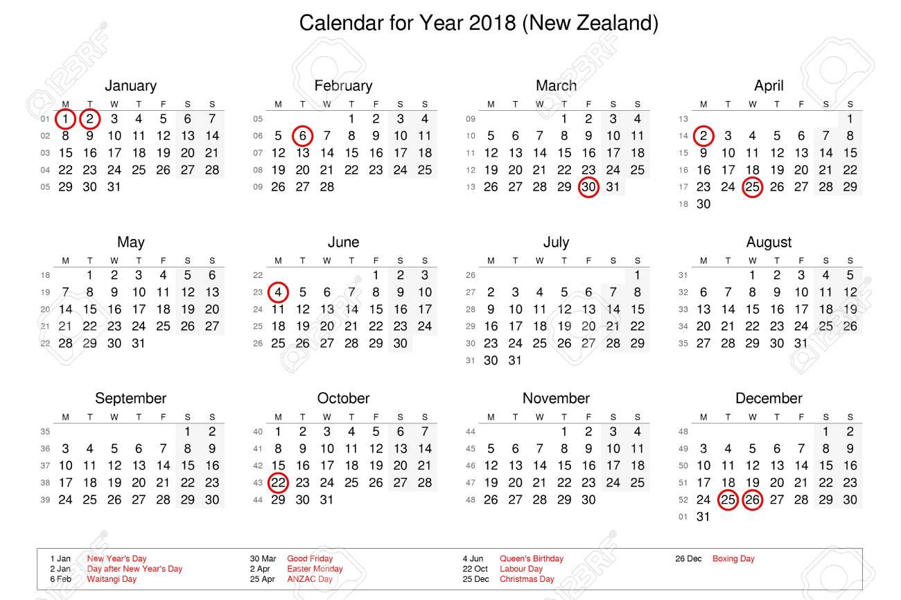 Kalender Für Das Jahr 2018 Mit Feiertagen Und Feiertagen Für ...
