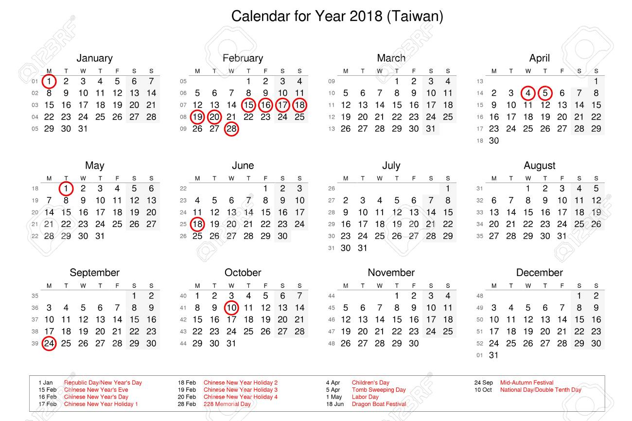Calendar Of Year 2018 With Public Holidays And Bank Holidays Stock Photo Picture And Royalty Free Image Image 91105123